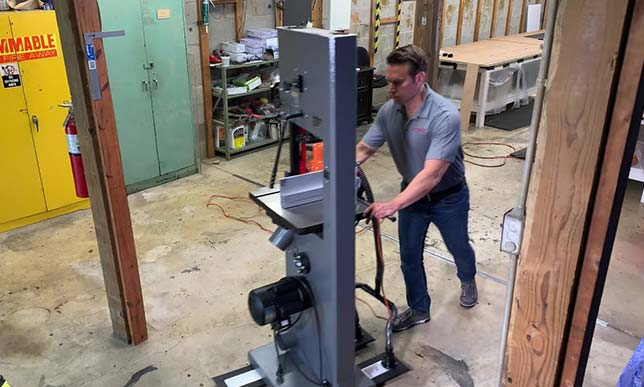 Using the Light Duty Appliance Mover to move a band saw