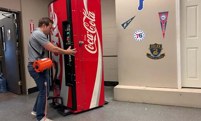 Moving vending and snack machines with an Airsled